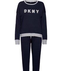 dkny new signature l/s top & jogger pj pyjama blauw dkny homewear