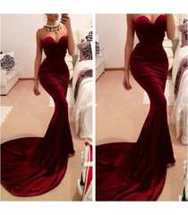 sexy burgundy sweep train prom dresses,sweetheart evening dresses