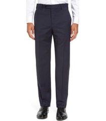 men's zanella devon flat front classic fit solid wool serge dress pants, size 35unhemmed - blue