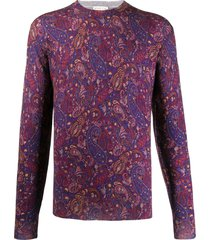 etro relaxed-fit paisley pullover - purple