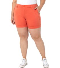 plus size women's liverpool los angeles buddy high waist trouser shorts, size 22w - orange