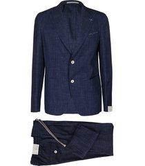 eleventy blue wool-silk blend two piece suit