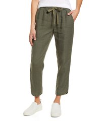 women's caslon track style linen pants, size large - green