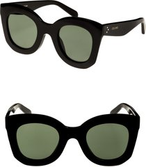 celine special fit 49mm cat eye sunglasses in black/green at nordstrom