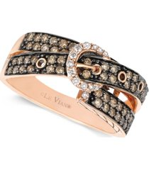 le vian chocolate (5/8 ct. t.w.) and white diamond (1/10 ct. t.w.) 2-row buckle ring in 14k rose gold