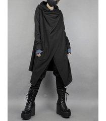 cárdigan de abrigo negro liso de longitud media irregular de estilo japonés para hombre