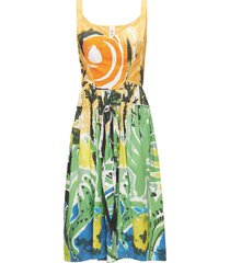 drawstring-waist jungle-print poplin dress