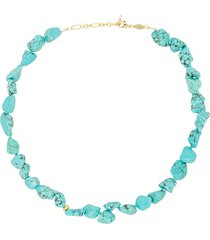 anni lu beach cocktail 18kt gold-plated turquoise necklace