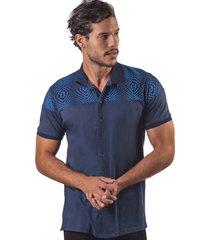 camisa pmp manga corta cuello tejido estampación geométrica en contraste