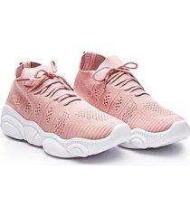 tenis en tela rosa color rosado, talla 38