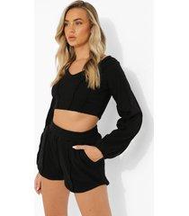 korte sweater met zoom detail en shorts set, black