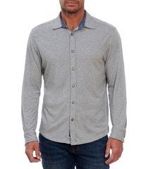 men's robert graham luke knit button-up shirt, size large - grey