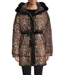 roberto cavalli women's leopard faux fur-trim puffer coat - brown beige - size l