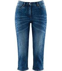 jeans capri elasticizzati in look usato (blu) - bpc bonprix collection