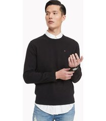 tommy hilfiger men's essential crewneck sweater black - l