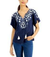 charter club embroidered tie-neck top, created for macy's