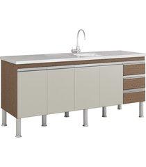 gabinete para cozinha ibiza 80x174cm amêndoa e off white