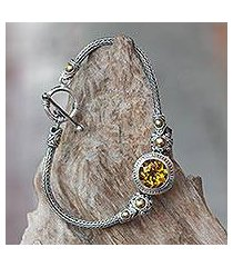 gold accent citrine braided bracelet, 'tenganan warmth' (indonesia)