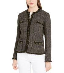 weekend max mara tweed frayed-trim jacket