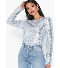 nly trend perfect sequin top långärmade toppar