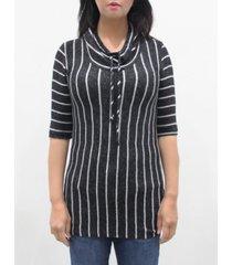 coin 1804 women's vertical stripe 3/4 sleeve cowl neck drawstring top