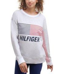 tommy hilfiger sport women's striped logo sweatshirt
