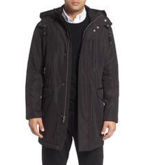 men's cole haan insulated water resistant car coat, size small - black