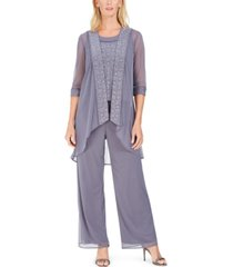 r & m richards 3-pc. glitter-embellished pantsuit