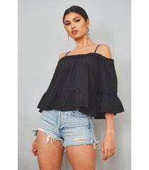 cold shoulder ruffle hem top, black