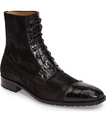 handmade mens cap toe high ankle boot, men crocodile texture and suede boots