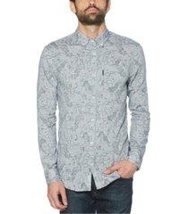 original penguin men's linen blend chambray print long sleeve button-down shirt