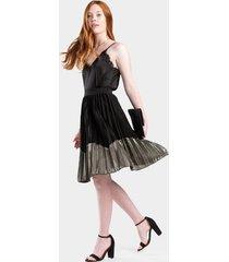kellie metallic pleated skirt - black