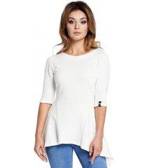 blouse be b041 gebreide stoffen peplum blouse met structuur - ecru