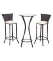conjunto bistrô mesa alta e 2 banquetas moscou pedra ferro a34 para cozinha edicula bar varanda