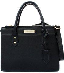 bolsa maria verônica quadrada com chaveiro couro estampado preto 5128