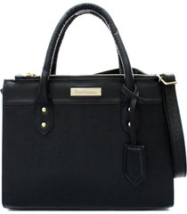 6330543fc bolsa maria verônica quadrada com chaveiro couro estampado preto 5128