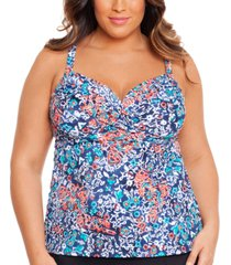 swim solutions plus size printed tummy-control underwire tankini top, created for macy's women's swimsuit