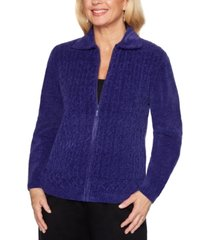 alfred dunner classics cable-knit zippered cardigan
