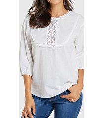 yoins blusa redonda de encaje de crochet blanco adornado cuello