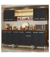 cozinha completa madesa emilly smile com balcão e armário vidro reflex - rustic/preto rustic/preto