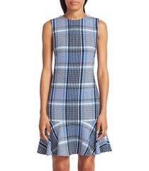 akris punto plaid tweed flounce hem shift dress - blue multi - size 14
