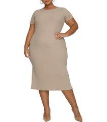 plus size women's good american rib short sleeve midi dress, size 6 - beige