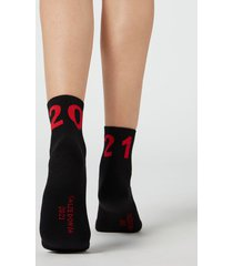 calzedonia chinese new year pattern cotton ankle socks woman black size tu
