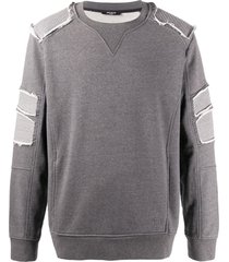 balmain distressed-effect sweatshirt - grey