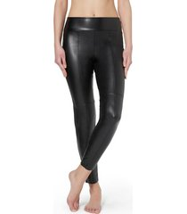 calzedonia leather-look thermal leggings with raw cut trim woman black size m