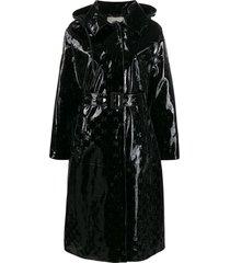 black patent logo coat