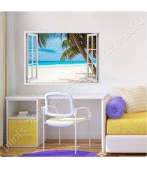 alonline art - poster or sticker decals vinyl palm on the beach fake 3d window