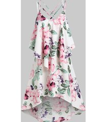 floral print strappy layered high low dress