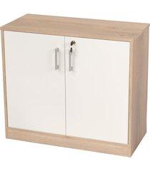 armário livorno c/ 2 portas 1 prateleira c/ chave branco/carvalho bonatto