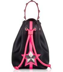 les jeunes etoiles designer handbags, black & neon pink leather vega bucket bag